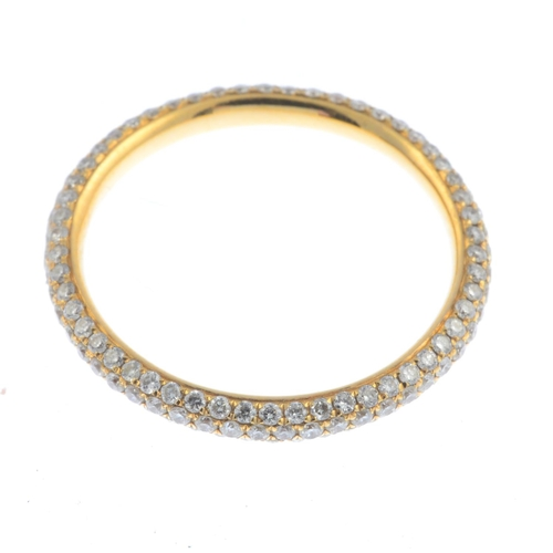5 - An 18ct gold diamond full eternity ring. Designed as a pave-set diamond band. Estimated total diamon...
