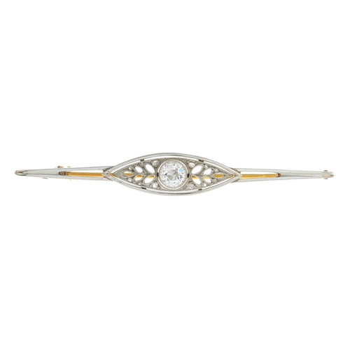 17 - An early 20th century gold diamond brooch. Of openwork, foliate design, the old-cut diamond, with ro...