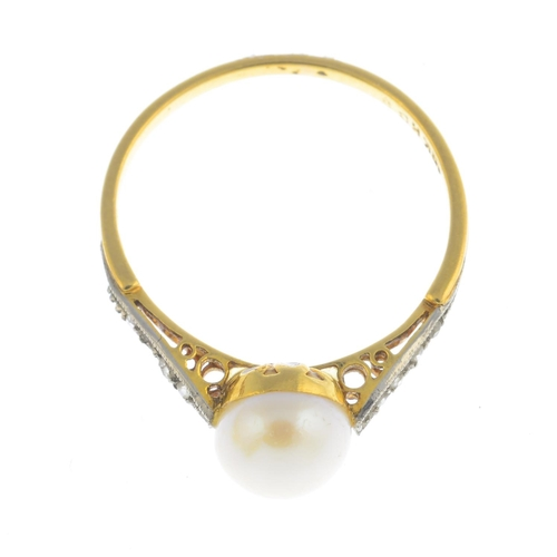 18 - A mid 20th century 18ct gold pearl and diamond ring. The pearl, measuring approximately 7.3mms, with...