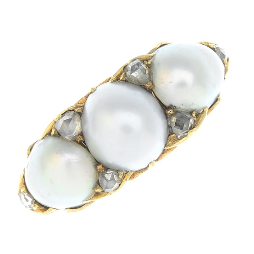 24 - An early 20th century 18ct gold split pearl and diamond dress ring. Designed as a split pearl line, ...