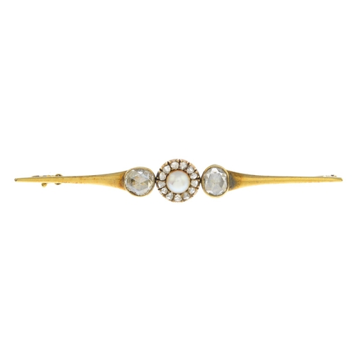 25 - A late 19th century gold diamond and split pearl brooch. The split pearl and rose-cut diamond cluste...