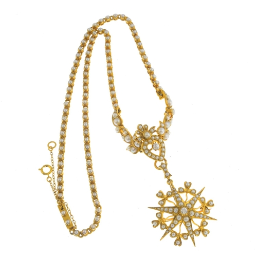 27 - A late Victorian 18ct gold split pearl and diamond necklace. The old-cut diamond and seed pearl star...