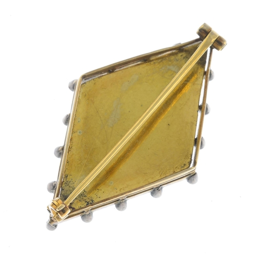 29 - An early 20th century gold enamel, diamond and seed pearl brooch. Of kite-shape outline, the rose-cu...