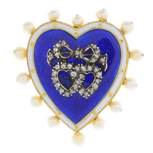 32 - An early 20th century gold enamel, diamond and seed pearl brooch. The rose-cut diamond double heart ...