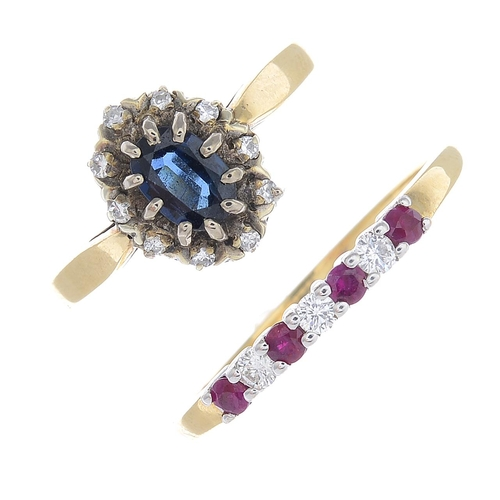 36 - Two 9ct gold diamond and gem-set rings. To include a cluster ring, designed as an oval-shape sapphir...