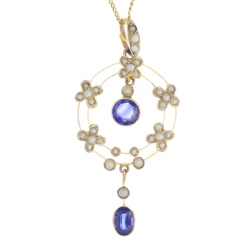 46 - An early 20th century 9ct gold sapphire and split pearl pendant. The oval-shape sapphire and split p...