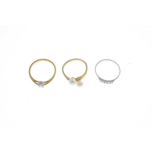 52 - Thee 9ct gold gem-set rings. To include a brilliant-cut diamond single-stone ring, a similarly-cut d...