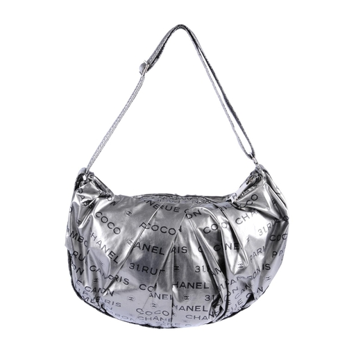cccd8ac2d1db 31 - CHANEL - a metallic silver Unlimited hobo handbag. Featuring a logo  patterned silver