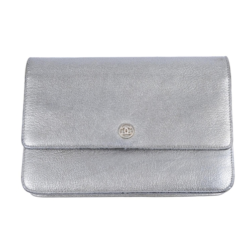 582c0431e107 54 - CHANEL - a silver leather Wallet On Chain handbag. Crafted from silver  grained