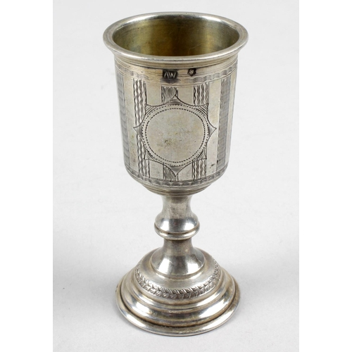 39 - An Austro-Hungarian silver kiddush cup, of typical goblet form and decorated with wavy line engraved...