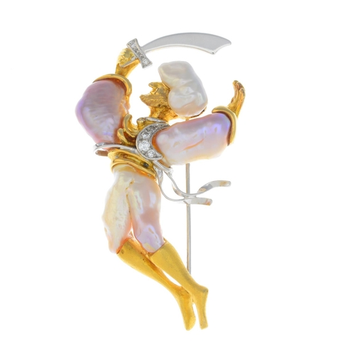 28 - A cultured pearl and diamond brooch. Designed to depict an Arabian sword dancer, with baroque cultur...