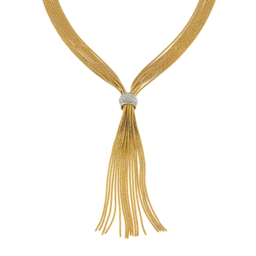 29 - An 18ct gold diamond necklace. The modified rope-twist multi-strand chains, gathered to a brilliant-...