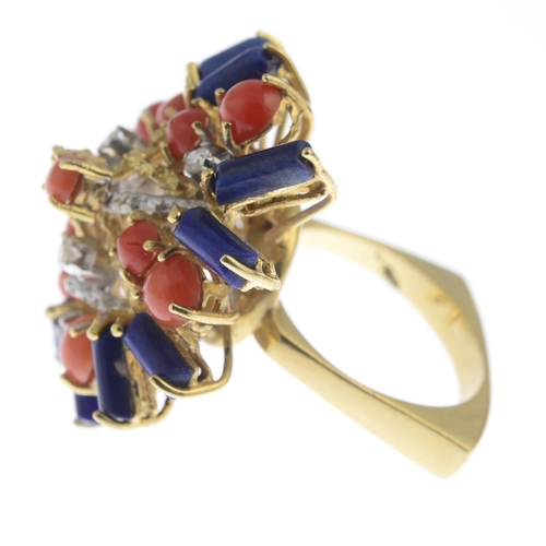 43 - A 1970s 18ct gold, diamond and gem-set cocktail ring. Of bi-colour design, the textured bar, single-...