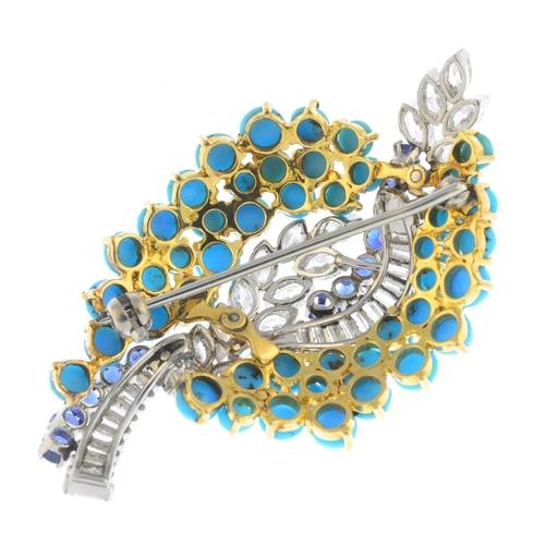 44 - A mid 20th century diamond and gem-set brooch. Comprising marquise-shape diamond foliate, circular-s...