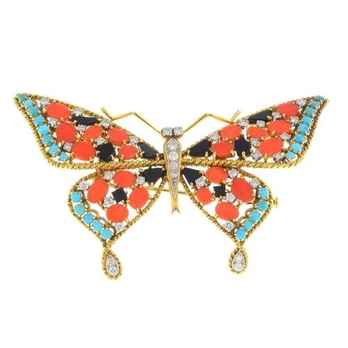 49 - A mid 20th century 18ct gold and platinum, diamond and gem-set butterfly brooch. The brilliant-cut d...