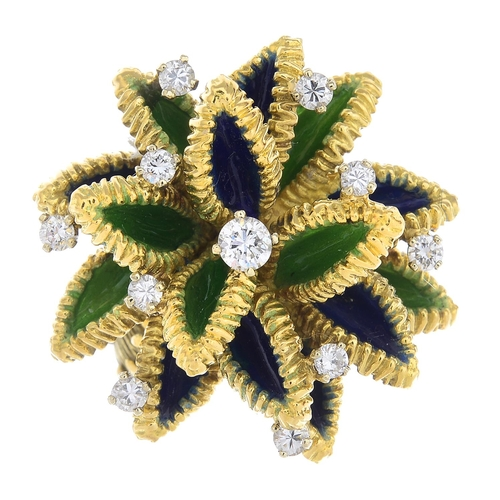 50 - A 1960s French 18ct gold diamond and enamel cocktail ring. The blue and green enamel foliate cluster...