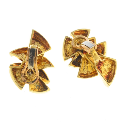 55 - CARTIER - a pair of mid 20th century 18ct gold earrings. Each designed as a brilliant-cut diamond or...