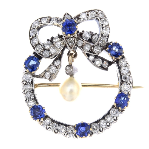 10 - A late Victorian silver and gold, sapphire, diamond and pearl brooch. The pearl and diamond drop, su...