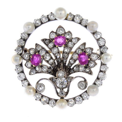 11 - A late Victorian silver and gold, diamond and gem-set brooch. The old and rose-cut diamond foliate p...