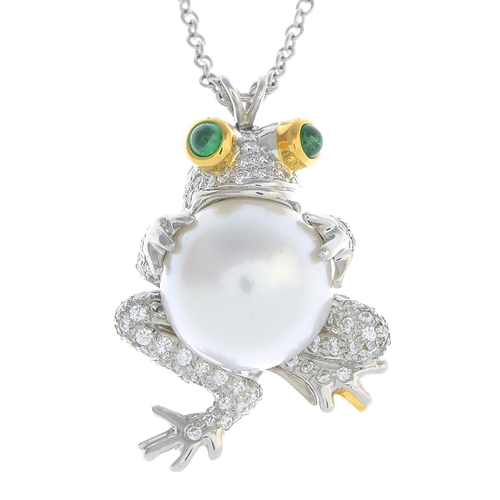 15 - TIFFANY & CO. - a diamond and gem-set pendant. Designed as a pave-set diamond frog, with circular em...