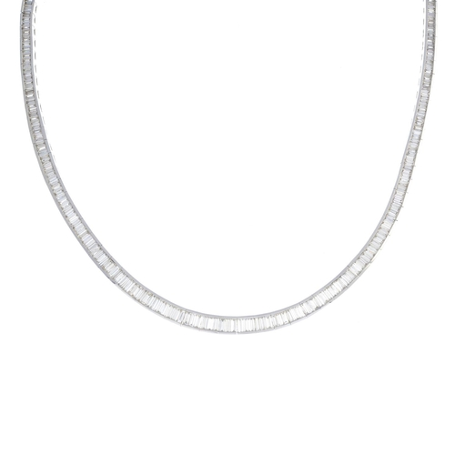 17 - A diamond necklace. The slightly graduated baguette-cut diamond line, within a channel setting. Tota...