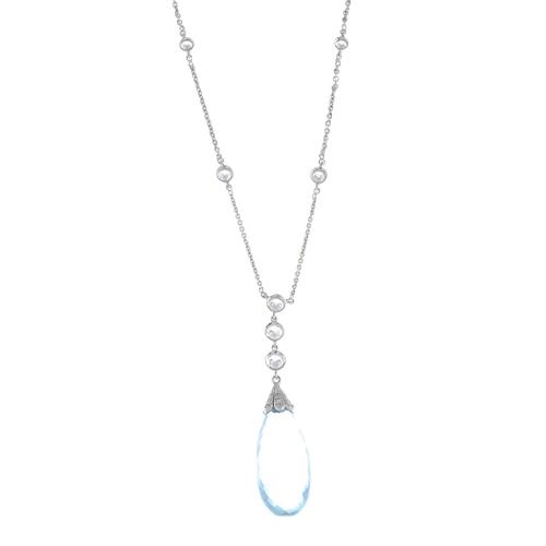 28 - An aquamarine and diamond necklace. The aquamarine briolette, with pave-set diamond cap and brillian...