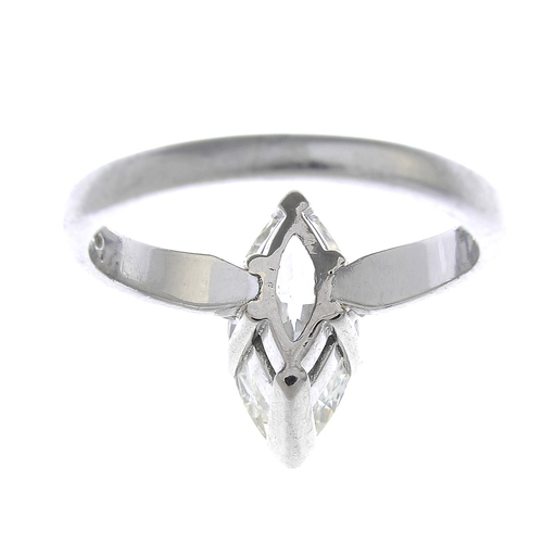 29 - A platinum diamond single-stone ring. The marquise-shape diamond, with plain band. Diamond weight 1....