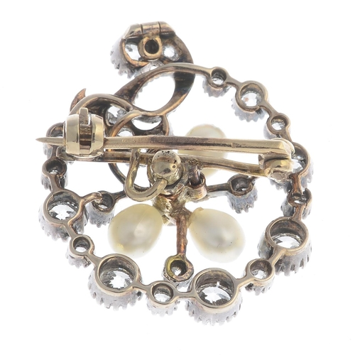 5 - A late Victorian silver and gold, diamond and cultured pearl brooch. The cultured pearl trefoil and ...