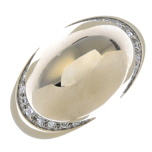 57 - BULGARI - an 18ct gold diamond 'Cabochon' ring. Of bombe design, with pave-set diamond ridges, to th...