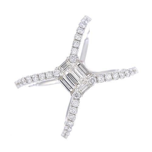 58 - A diamond dress ring. The vari-cut diamond rectangular cluster, to the brilliant-cut diamond line op...