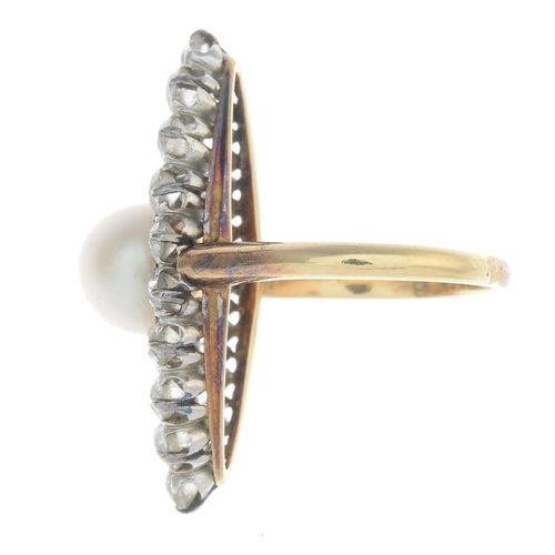 6 - An early 20th century 18ct gold natural pearl and diamond cluster ring. The natural pearl, measuring...