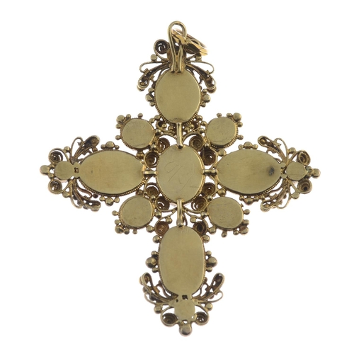 7 - A Georgian 18ct gold foil back garnet and split pearl cross pendant. The oval foil-back garnet cross...