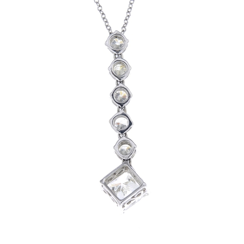 33 - A diamond pendant. The square-shape diamond, suspended from a brilliant-cut diamond articulated line...