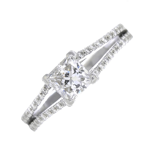 39 - A platinum diamond single-stone ring. The square-shape diamond, weighing 0.73ct, with brilliant-cut ...
