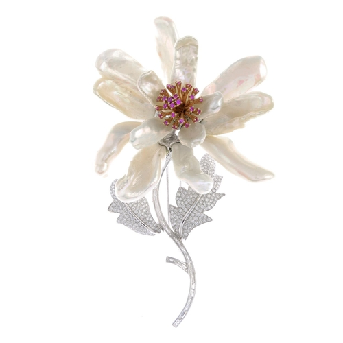 50 - An 18ct gold diamond and gem-set floral brooch. The circular-shape pink sapphire stamen cluster, wit...