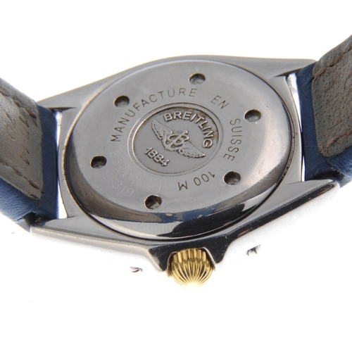 22 - BREITLING - a lady's Callistino wrist watch. Stainless steel with bi-metal calibrated bezel. Referen...