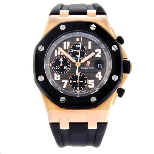 3 - AUDEMARS PIGUET - a gentleman's Royal Oak Offshore chronograph wrist watch. 18ct rose gold case with...