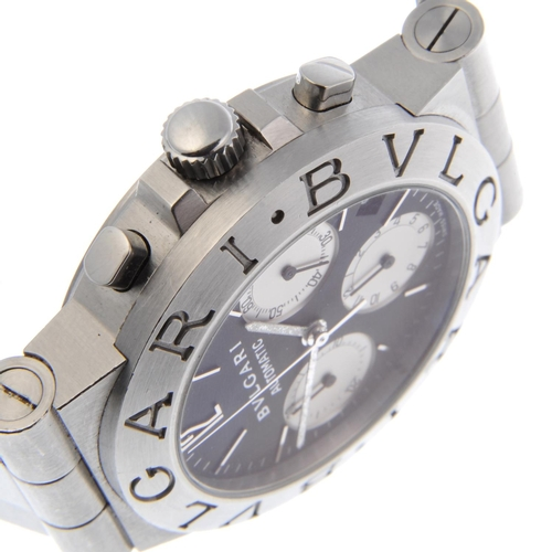 39 - BULGARI - a gentleman's Diagono chronograph bracelet watch. Stainless steel case. Reference CH35S, s...
