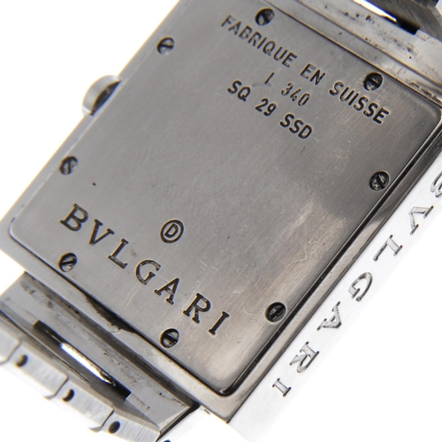 41 - BULGARI - a mid-size Quadrato bracelet watch. Stainless steel case. Reference SQ29SSD, serial L340. ...