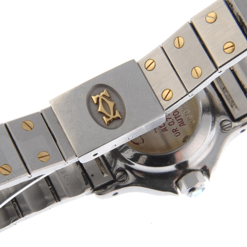 46 - CARTIER - a Santos Ronde bracelet watch. Stainless steel case with yellow metal bezel. Numbered 0907...