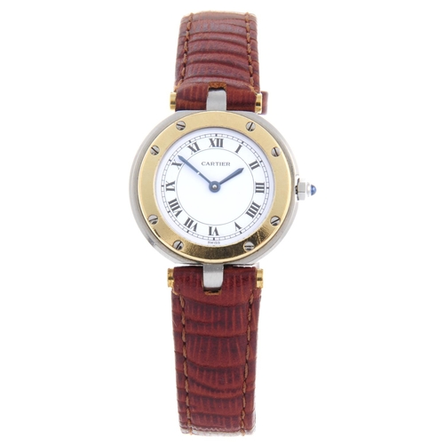 48 - CARTIER - a Santos Ronde wrist watch. Stainless steel case with yellow metal bezel. Numbered 8191328...