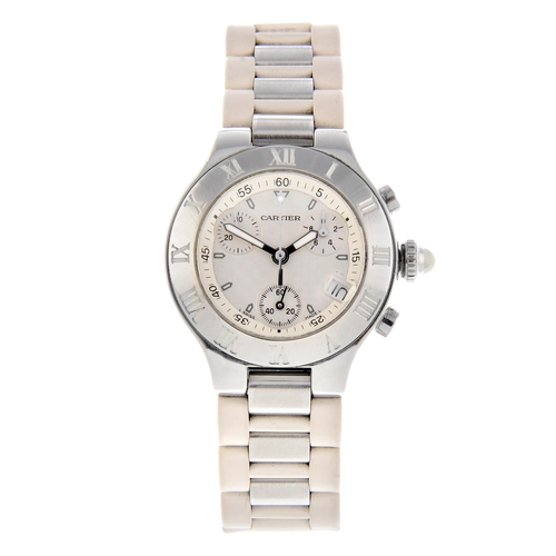 50 - CARTIER - a Chronoscaph 21 chronograph wrist watch. Stainless steel case with chapter ring bezel. Re...