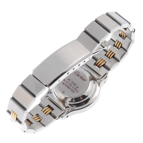 53 - CARTIER - a Santos Ronde bracelet watch. Stainless steel case with yellow metal bezel. Numbers illeg...