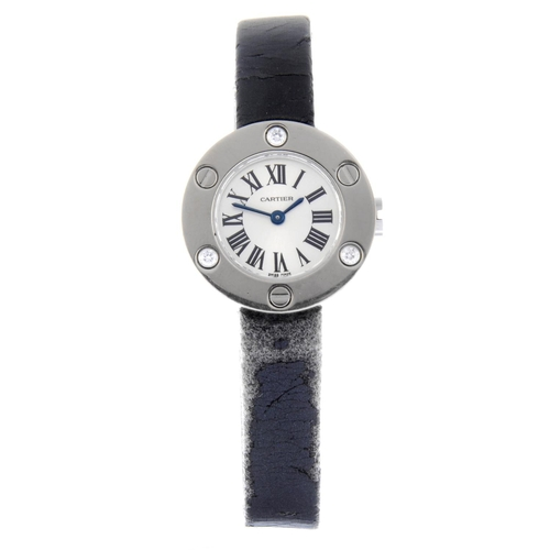 54 - CARTIER - a Love wrist watch. 18ct white gold case with factory diamond set bezel. Reference 2974, s...