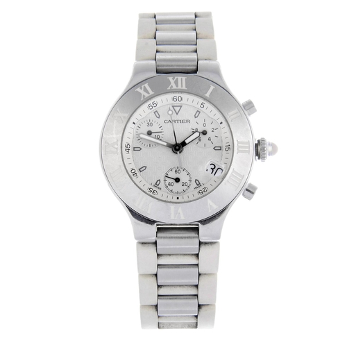 56 - CARTIER - a Chronoscaph 21 chronograph wrist watch. Stainless steel case with chapter ring bezel. Re...