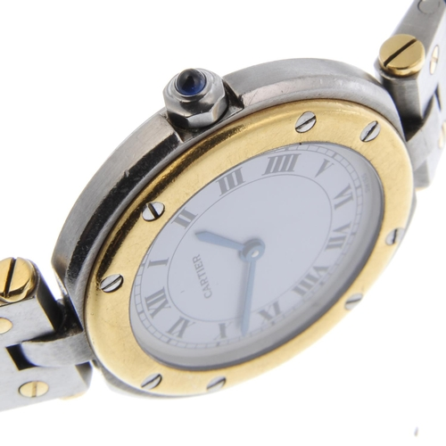 58 - CARTIER - a Santos Ronde bracelet watch. Stainless steel case with yellow metal bezel. Numbered 8191...