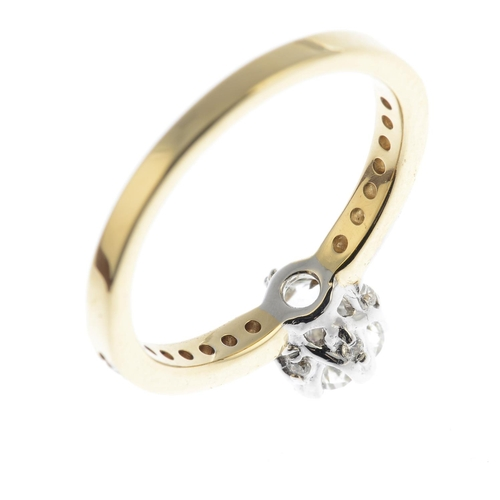31 - A fracture-filled diamond ring. Estimated total diamond weight 1ct. Stamped 14K.Ring size K. 2.6gms....