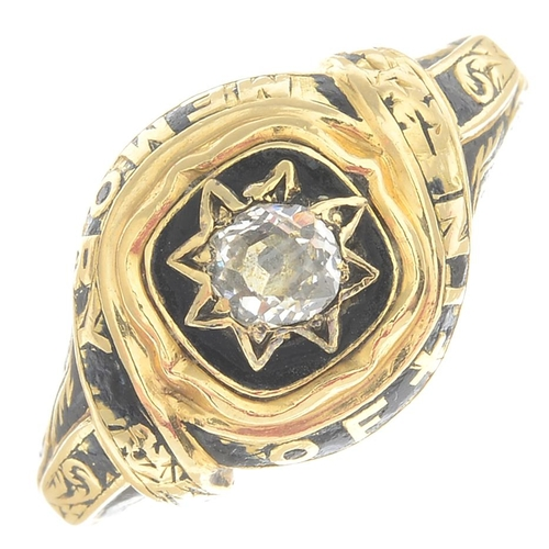 10 - An early Victorian 18ct gold old-cut diamond and black enamel memorial ring. Estimated diamond weigh...