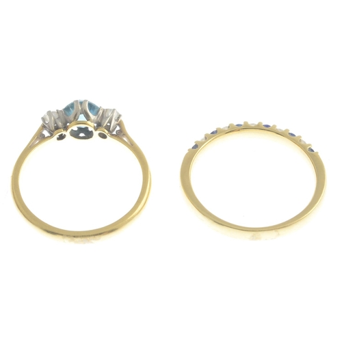 26 - An 18ct gold sapphire and diamond dress ring, and a zircon and diamond three-stone ring.Estimated to...