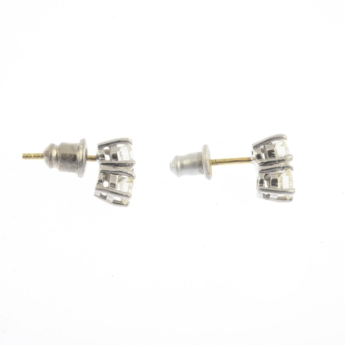 35 - A pair of brilliant-cut diamond earrings.Estimated total diamond weight 1ct, J-L colour, SI clarity....